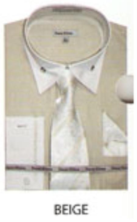 SKU#RX689 Mens French Cuff Dress Shirt Beige $65