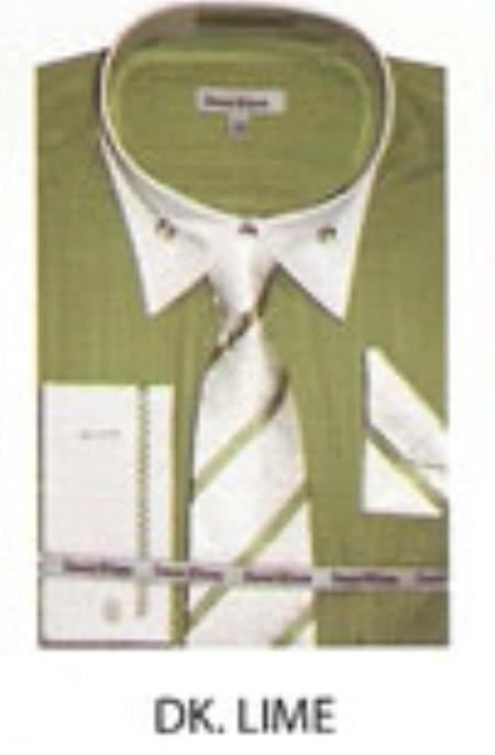 SKU#BD642 Mens French Cuff Dress Shirt Dk. Lime $65