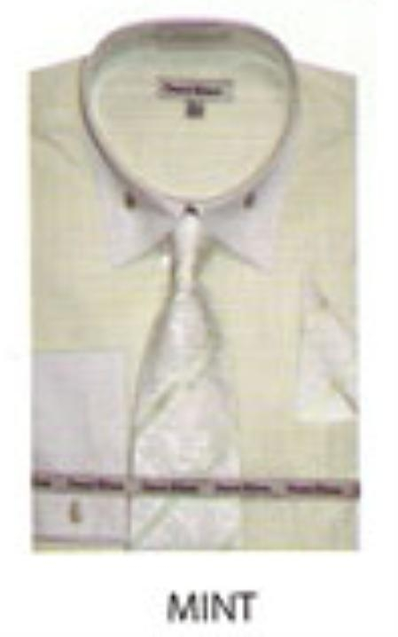 SKU#FN579 Mens French Cuff Dress Shirt Mint $65