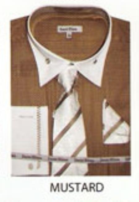 SKU#FB733 Mens French Cuff Dress Shirt Mustard $65