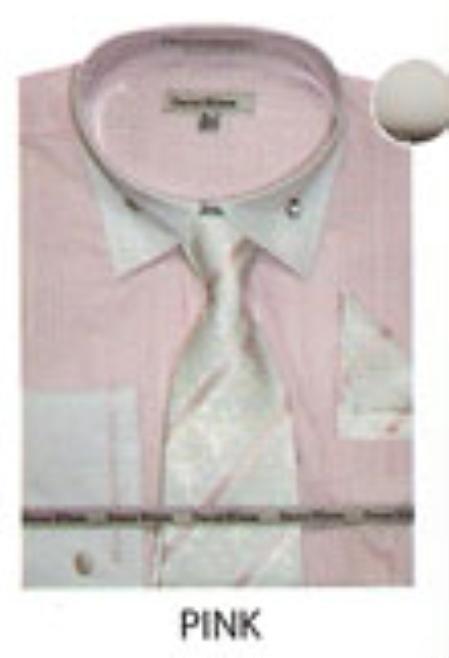 SKU#VS644 Mens French Cuff Dress Shirt Pink $45