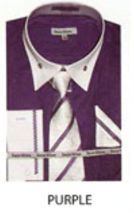 SKU#TM532 Mens French Cuff Dress Shirt Purple $65
