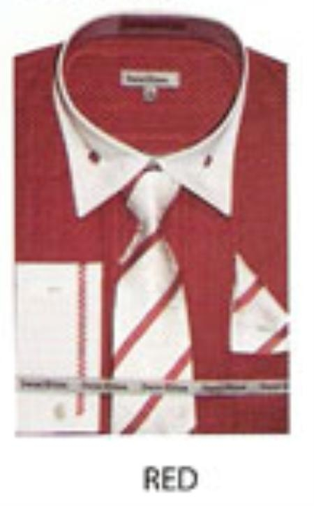 SKU#IJ634 Mens French Cuff Dress Shirt Red $65