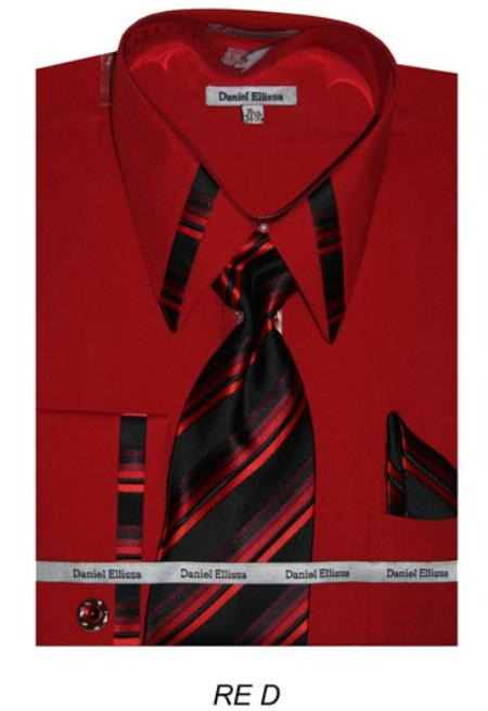 SKU#RP4755 Mens French Cuff Dress Shirt - Red $65