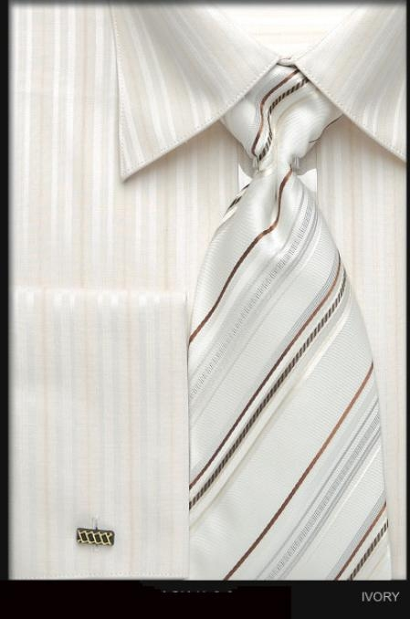 SKU#UZ632 Mens French Cuff Dress Shirt Set with Tie Ivory $45
