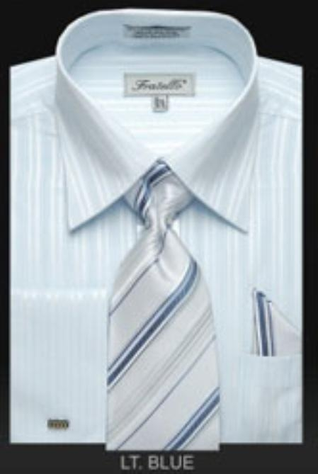 SKU#KC532 Mens French Cuff Dress Shirt Set with Tie Light Blue $65