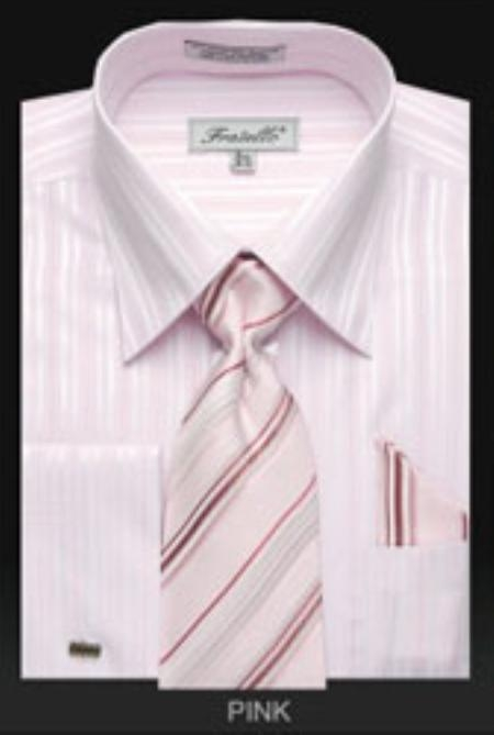 SKU#LA801 Mens French Cuff Dress Shirt Set with Tie Pink $65