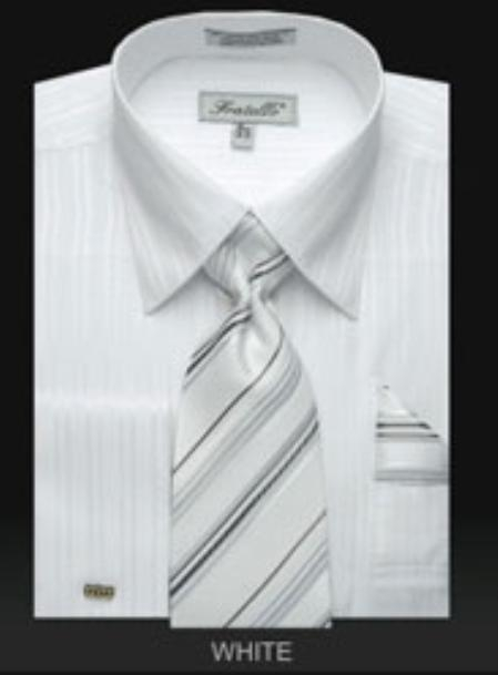 SKU#TZ870 Mens French Cuff Dress Shirt Set with Tie White $65