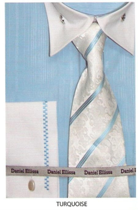 SKU#TU643 Mens French Cuff Dress Shirt Turquoise $45