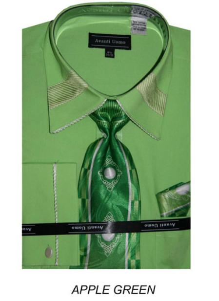 SKU#AG8889 Mens French Cuff Dress Shirt with Matching Tie and Hanky - Apple Green $45