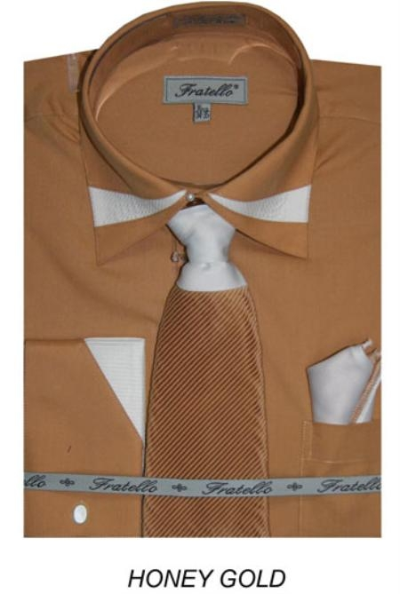 SKU#HG8634 Mens French Cuff Dress Shirt with Matching Tie and Hanky-Honey Gold $65