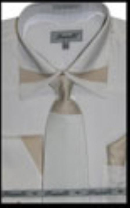 SKU#IV3772 Mens French Cuff Dress Shirt with Matching Tie and Hanky Ivory $65