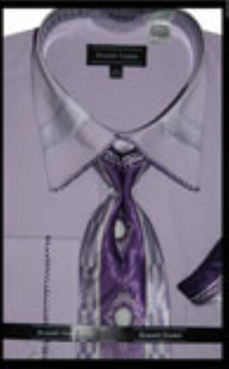 SKU#LA8775 Mens French Cuff Dress Shirt with Matching Tie and Hanky - Lilac $65
