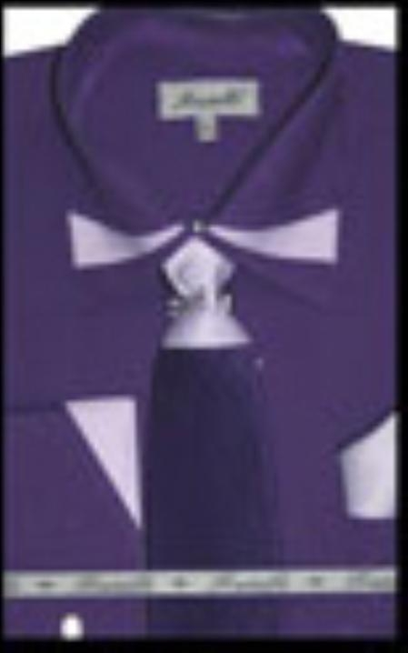SKU#PP7335 Mens French Cuff Dress Shirt with Matching Tie and Hanky Purple $65