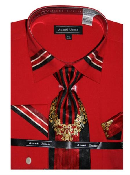 SKU#RD0846 Mens French Cuff Dress Shirt with Matching Tie and Hanky- Red $65