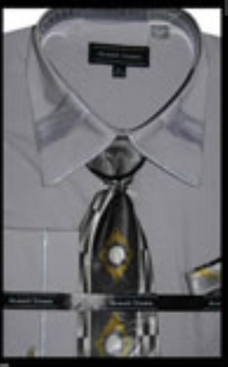 SKU#ZY1245 Mens French Cuff Dress Shirt with Matching Tie and Hanky - Silver $65
