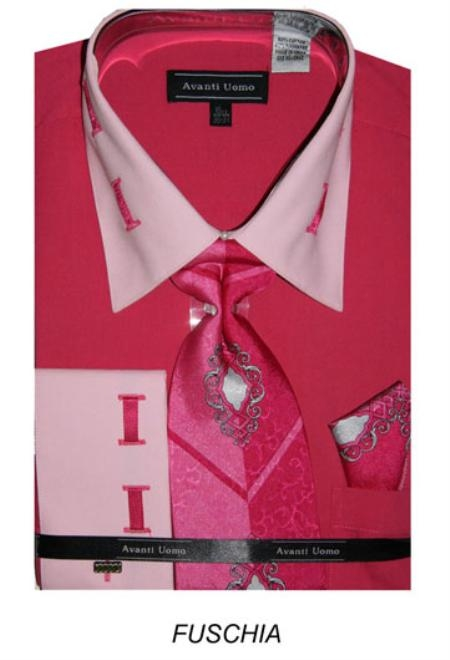 SKU#LS5488 Mens French Cuff Fuschia Dress Shirt with Matching Tie and Hanky $65