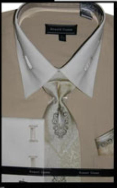 SKU#BG4411 Mens French Cuff Beige Dress Shirt with Matching Tie and Hanky $45