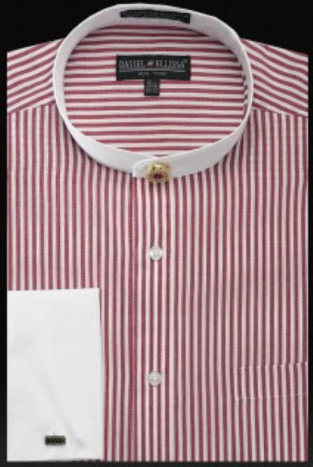 SKU#OB709 Mens French Cuff Shirt Burgundy $950