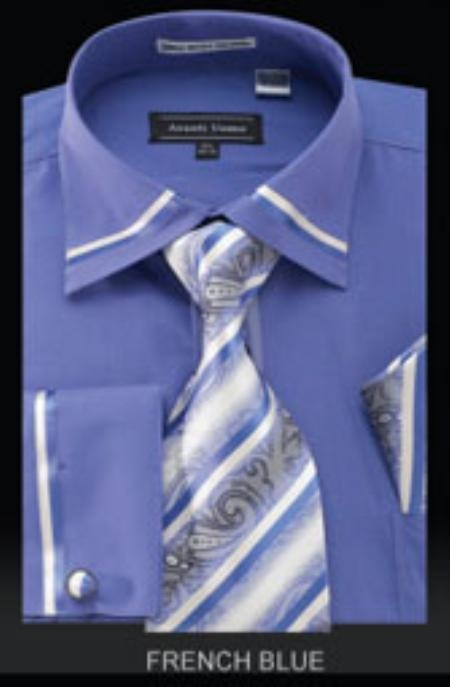 SKU#YX564 Mens French Cuff Shirt French Blue $65