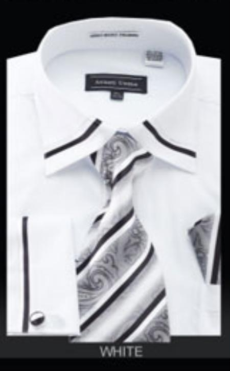 SKU#DB464 Mens French Cuff Shirt French White $65