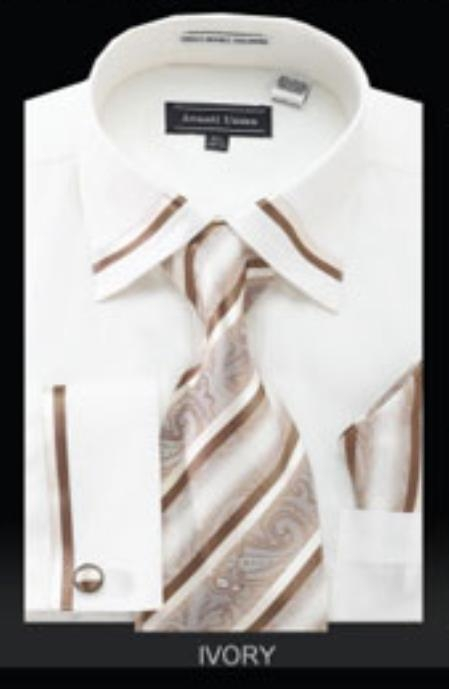 SKU#EN888 Mens French Cuff Shirt Ivory $65