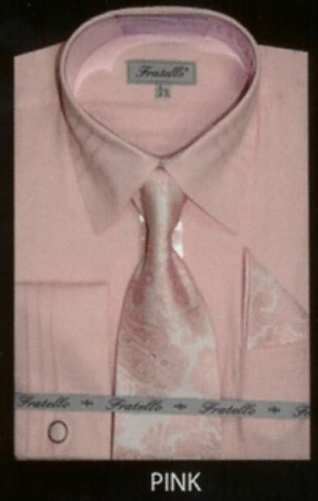 SKU#EV634 Mens French Cuff Shirt Pink $65