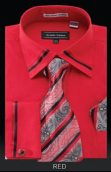SKU#RE501 Mens French Cuff Shirt Red $65