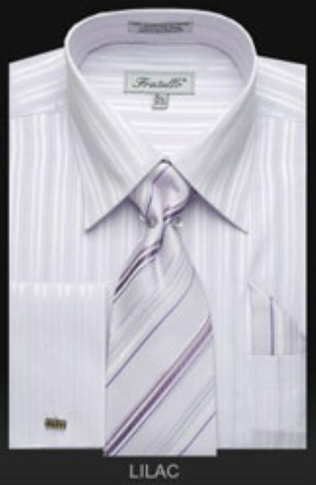 SKU#LS643 Mens French Cuff Dress Shirt Set with Tie Lilac $65
