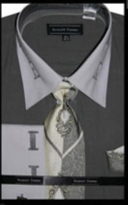 SKU#GY4600 Mens French Cuff Gray Dress Shirt with Matching Tie and Hanky $65