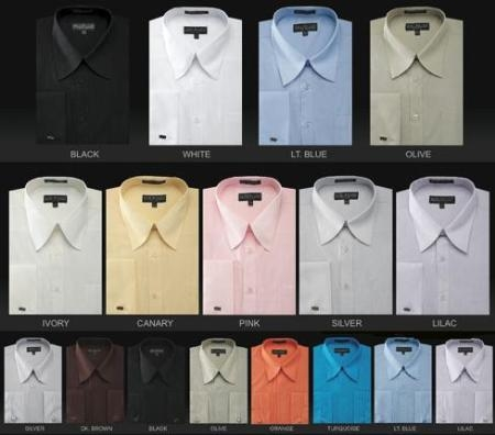 Mds3008U Mens French Cuffed 65%Poly 35%Cotton Dress Shirt in 34 Colors $39