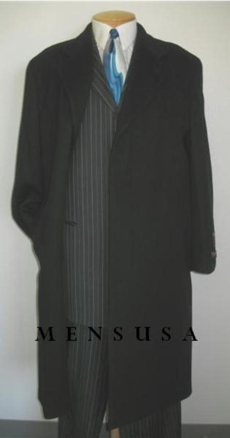 SKU#MTT4 Mens Full Length Deepest Charcoal Wool Blend Single Breasted 3 Button Overcoat