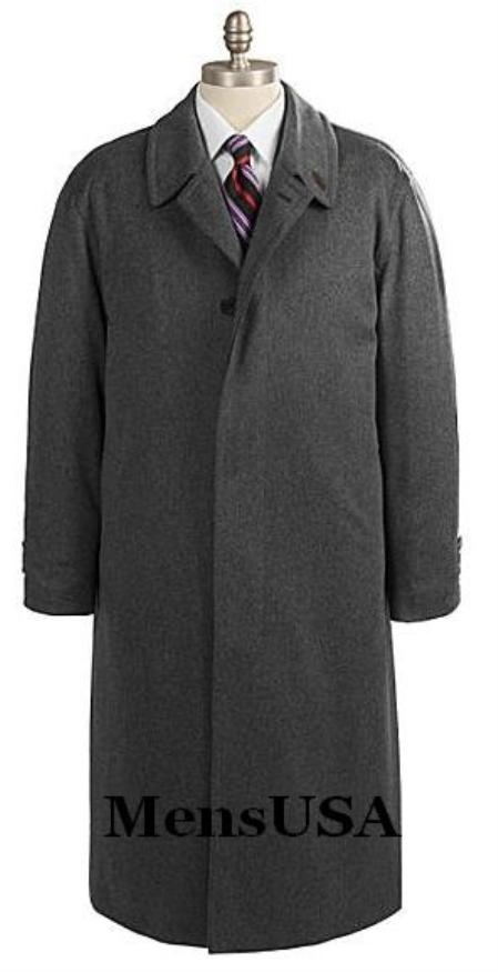 SKU# OKV587 Mens Full Length Charcoal Gray Overcoat in Pure Wool Blend Single Breasted 3 Button Fully Lengh Coat $149