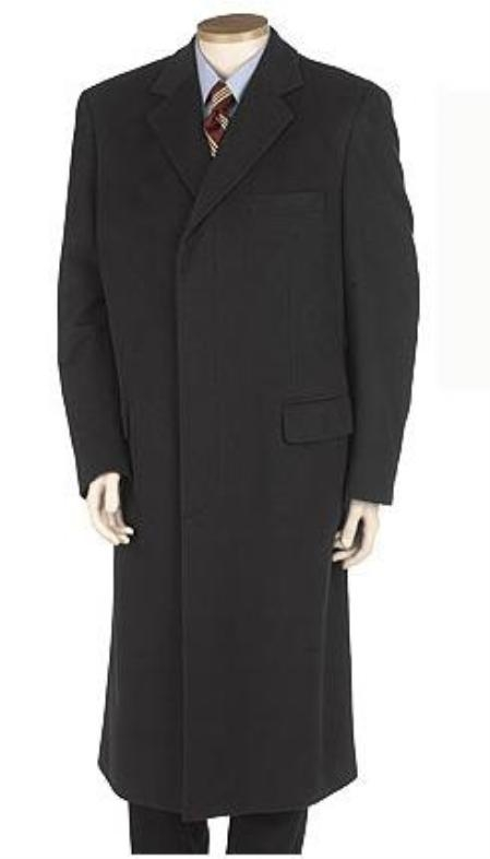 SKU#GHN873 Mens Full Length Solid Black Overcoat Wool Blend Single Breasted 3 Button Fully Lined Hidden buttons
