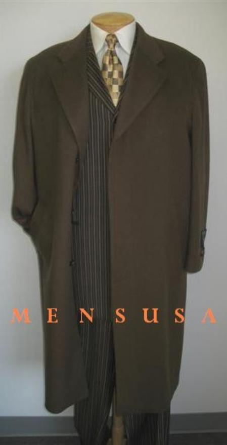 SKU#Man_Topcoats ~ overcoat Mens Full Length Chocolate brown (CoCo) Overcoat Wool Blend Single Breasted 3 Button Fully Lined