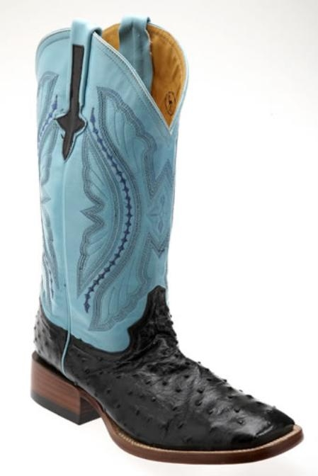SKU#AN710 Mens Full Quill Ostrich Square Toe Western Boots