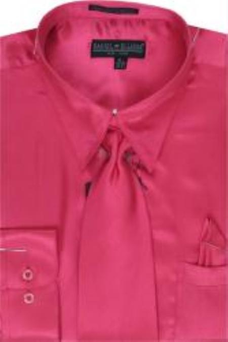 SKU#AL421 Mens Fuschia Shiny Silky Satin Dress Shirt/Tie $59
