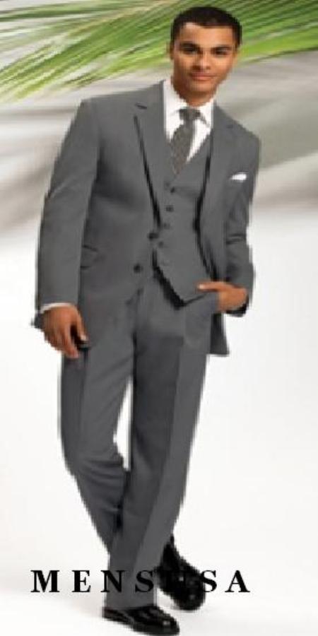 SKU#TK2891 Mens Gray 2 Button Vested 3 Piece three piece suit - Jacket + Pants + Vest