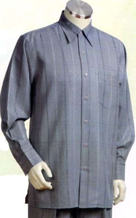 SKU#HW623 Mens Gray Long Sleeve 2pc Set with French Cuff Shirt $89