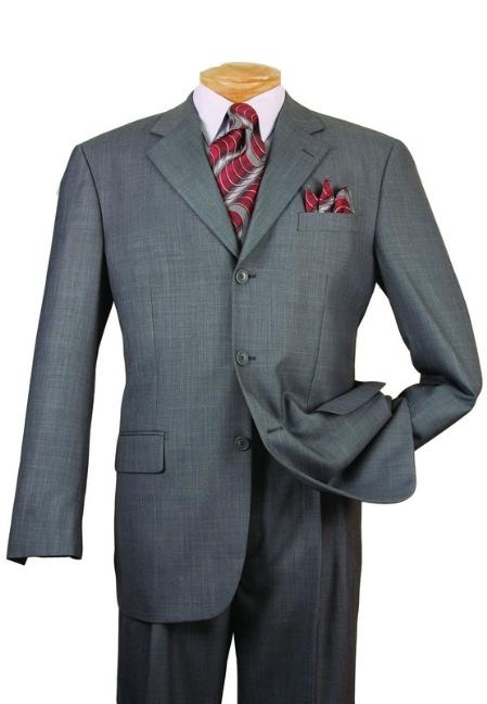 SKU#JL2889 Mens Gray Single Breasted 3 Button affordable suit online sale $139