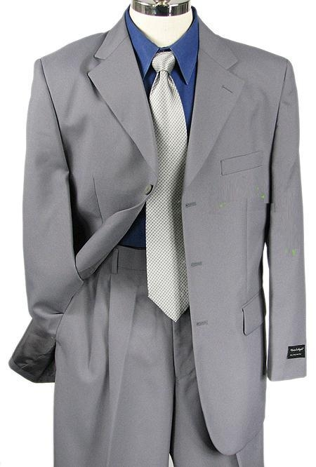 SKU#C73 Mens Gray Single Breasted Dress 3 Button notch collar cheap discounted Suit  $79