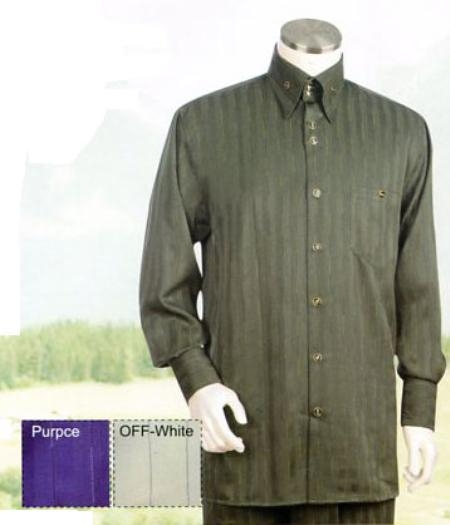 SKU#JC539 Mens Green Long Sleeve 2pc Set including Matching Wide Leg Dress Pants $125