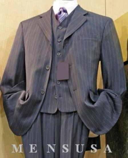 SKU#D63TRS Mens Grey Stripe ~ Pinstripe 3 buttons High Vested 3 Piece Rayon/Visouse Dress three piece suit  in 3 Colors $169