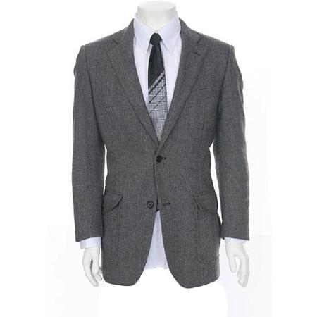 SKU#GE735 Mens Grey Two-button Herringbone Sportcoat $89