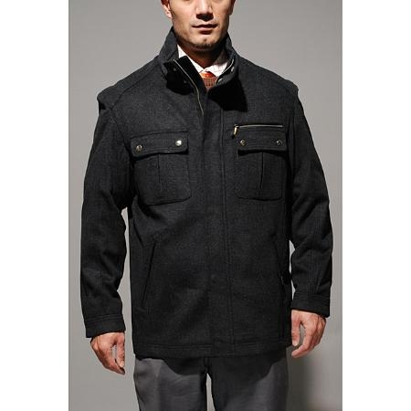 SKU#GS4400 Mens Grey Wool-blend Jacket $190
