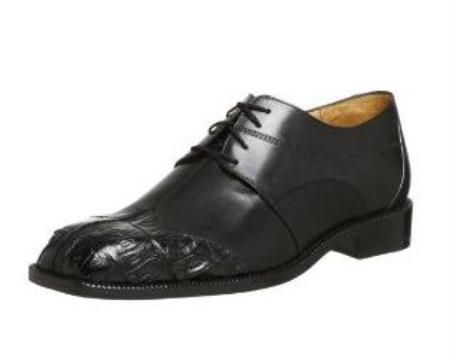 Belvedere Mens Guido Oxford Made of Lizard and Alligator Black $249