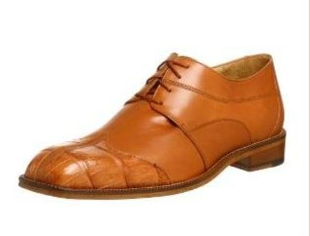 Belvedere Mens Guido Oxford Made of Lizard and Alligator Tan $249