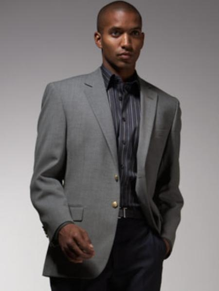 SKU#JD900 Mens 2 Button Single Breasted Gray ~ Grey Sport Coat ~  Blazer ~  Jacket with Brass buttons
