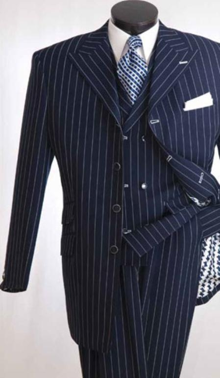 SKU#AN578 Mens High Fashion Navy 3pc Suit $139