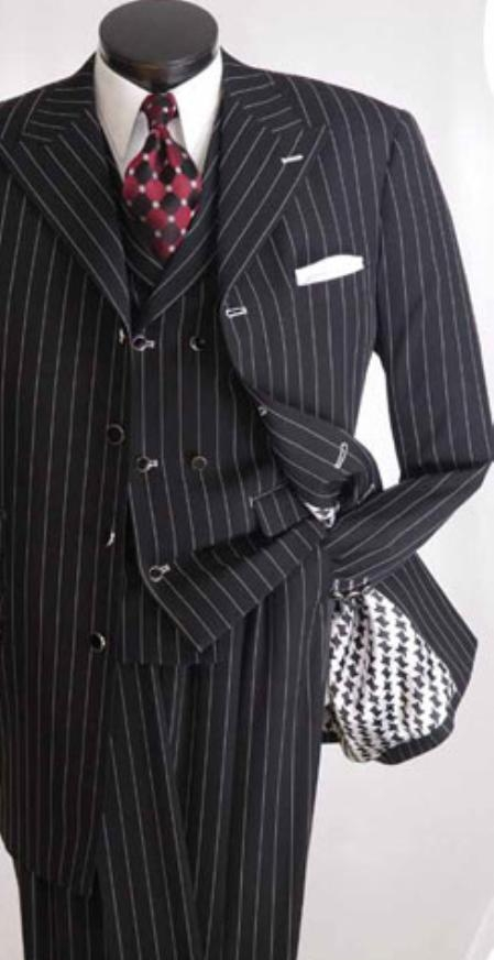 SKU#HU576 Mens High Fashion 3pc Black Suit $139